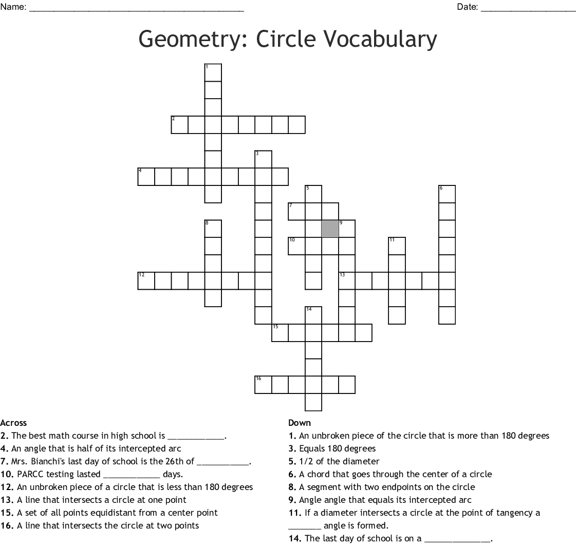 Geometry Crossword
