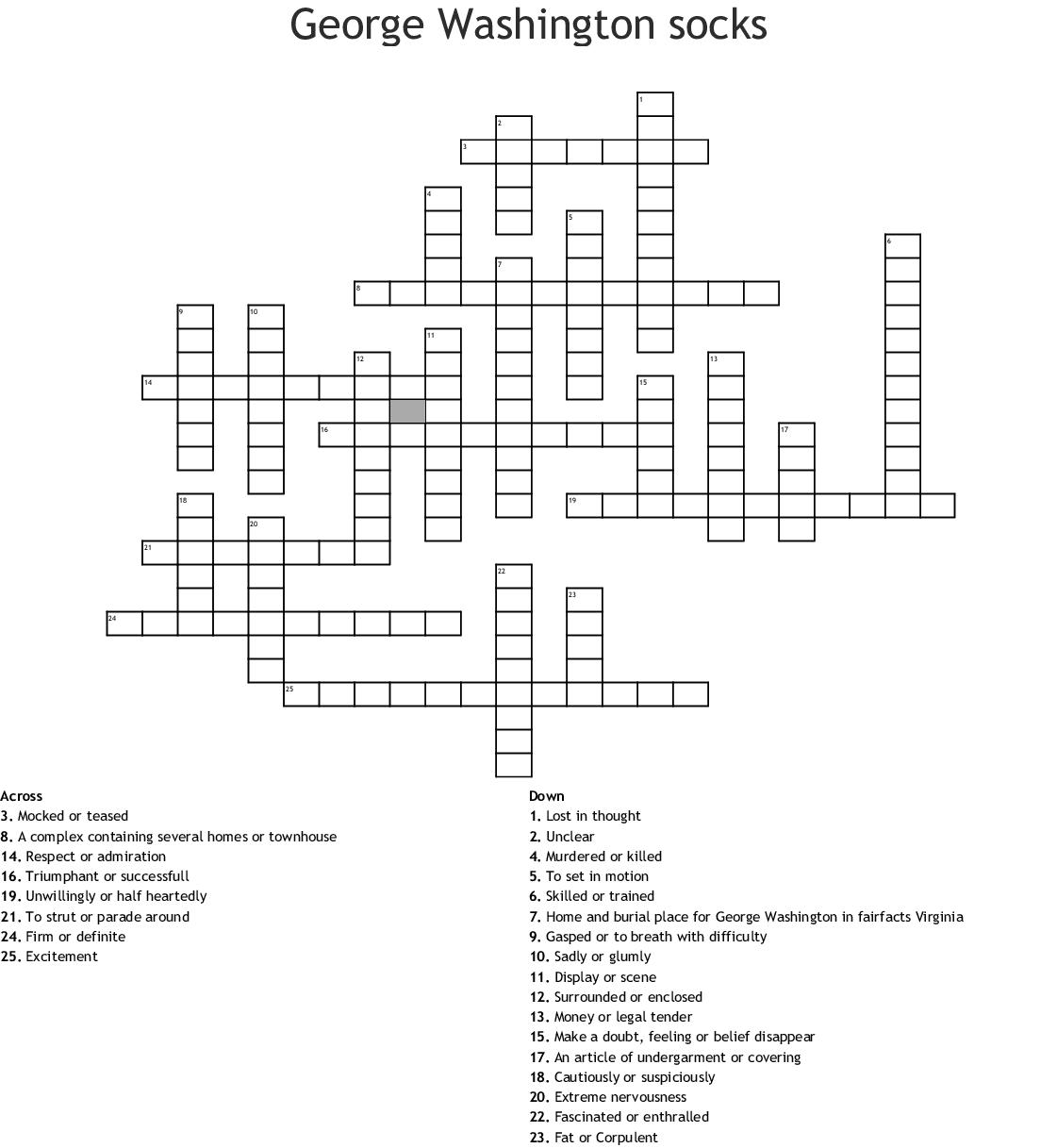 George Washington S Socks Crossword Puzzle