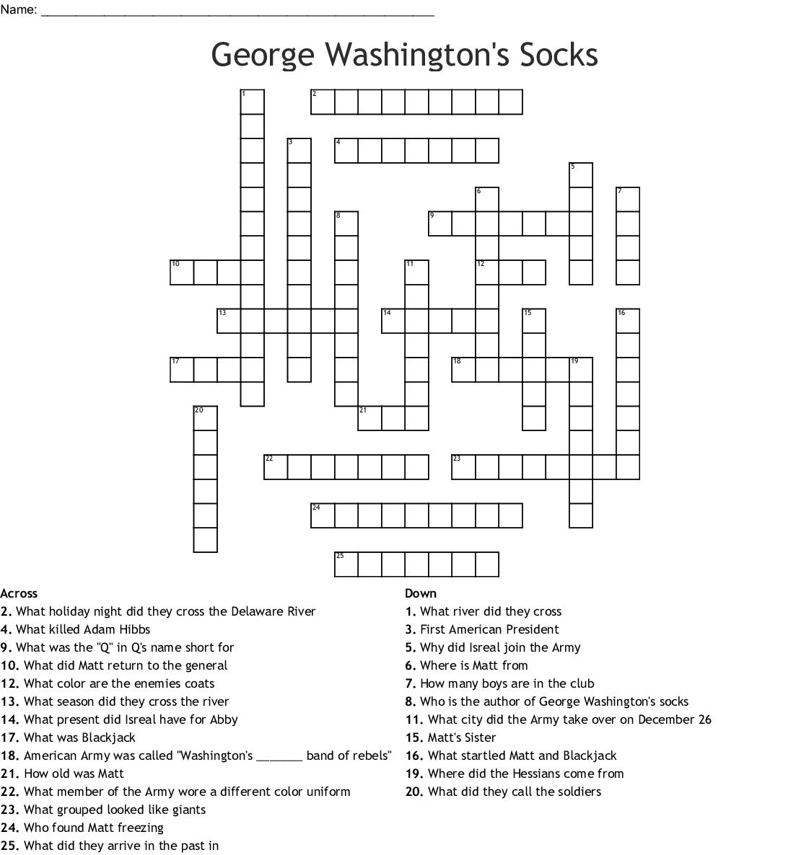 George Washington S Socks Word Search