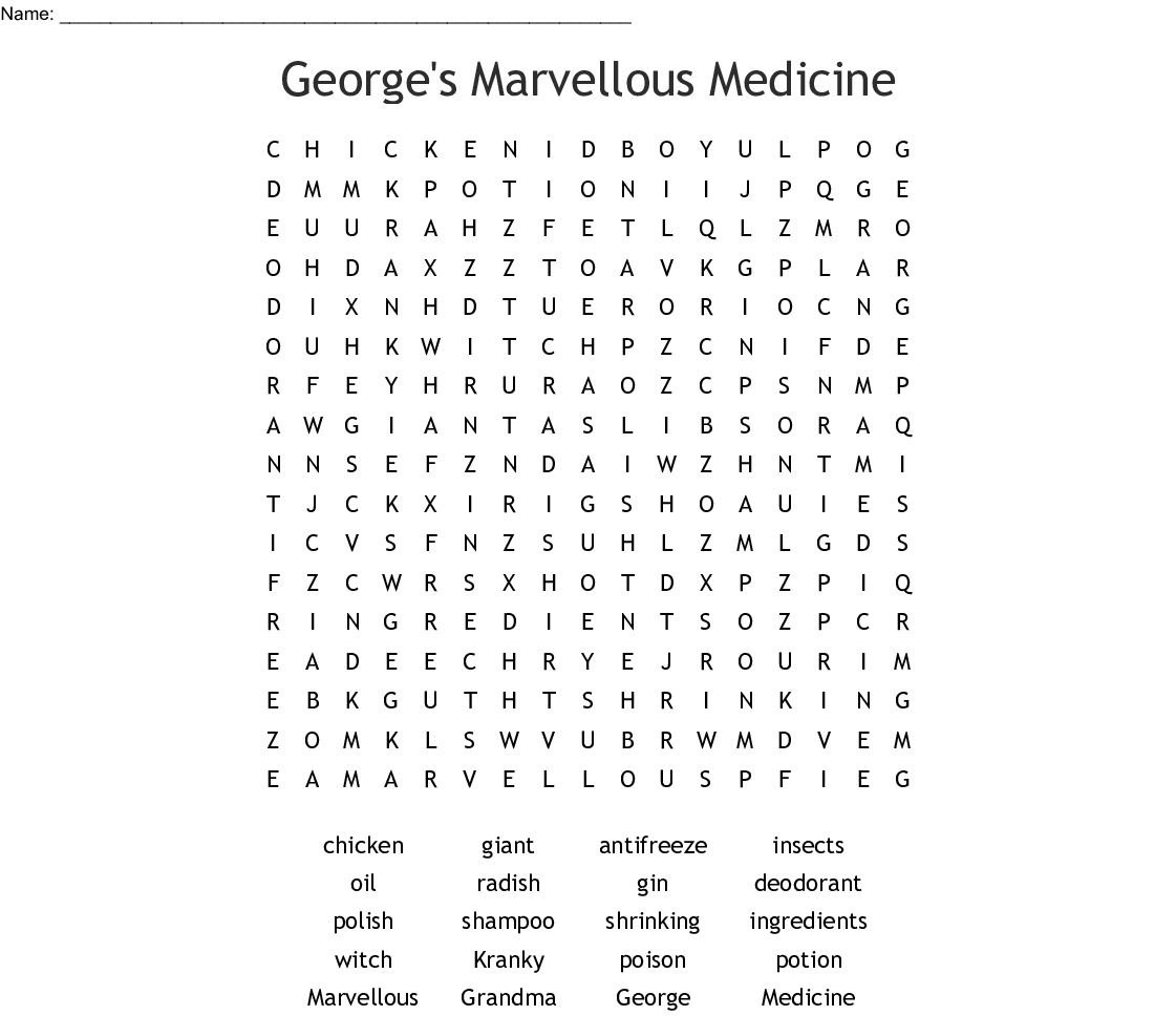 George S Marvellous Medicine Word Search