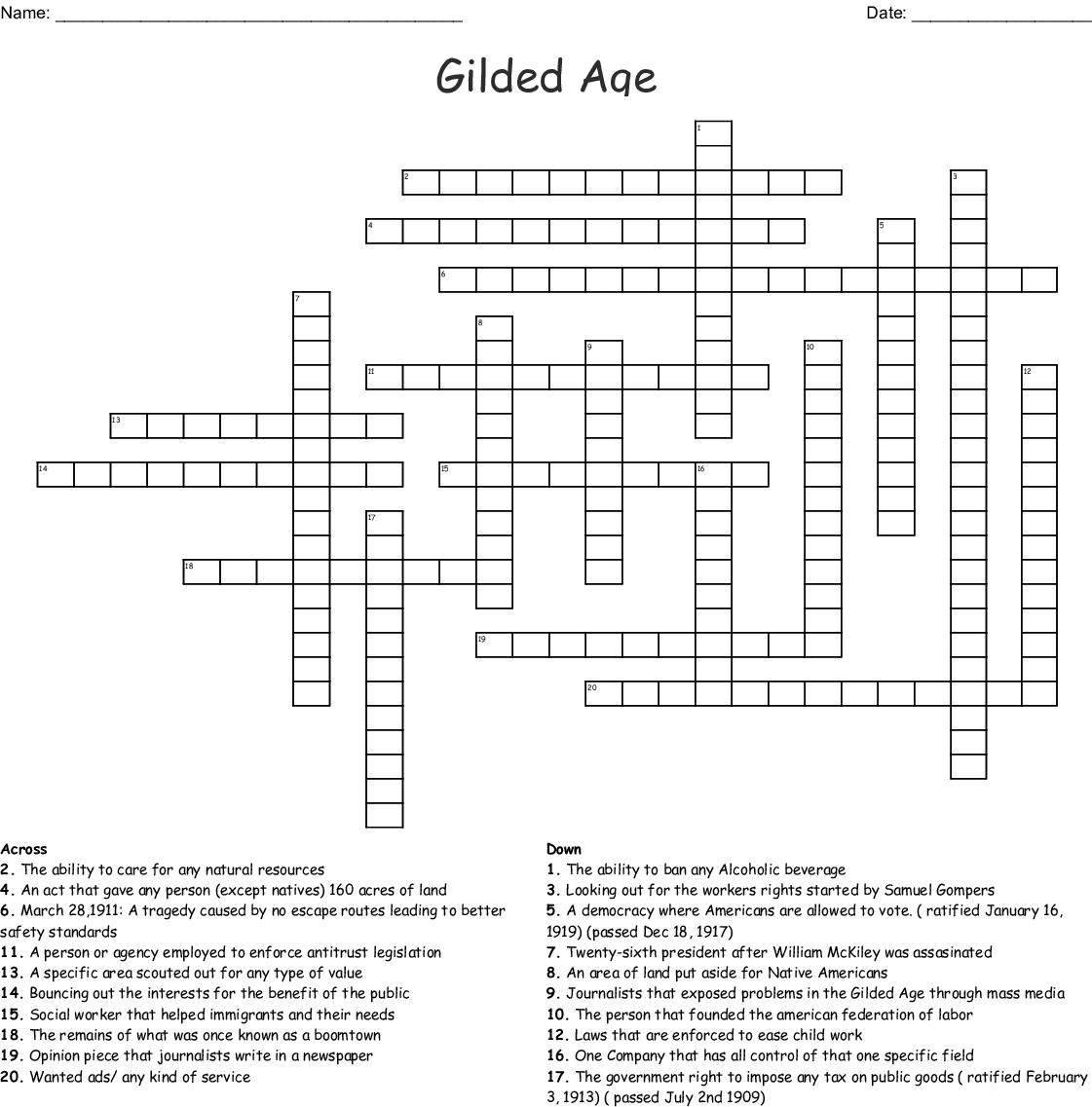 Gilded Age Crossword