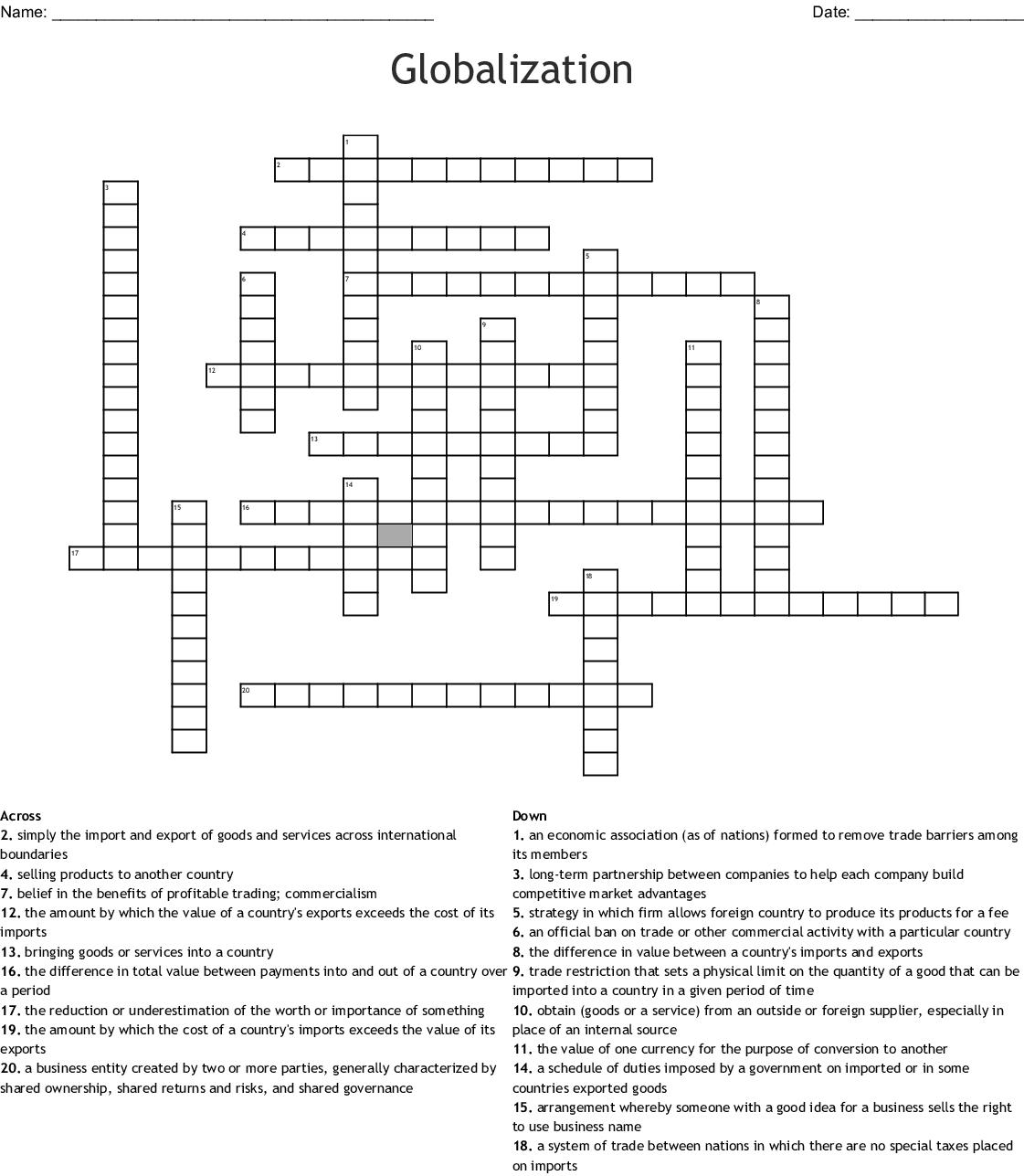 Globalization Crossword
