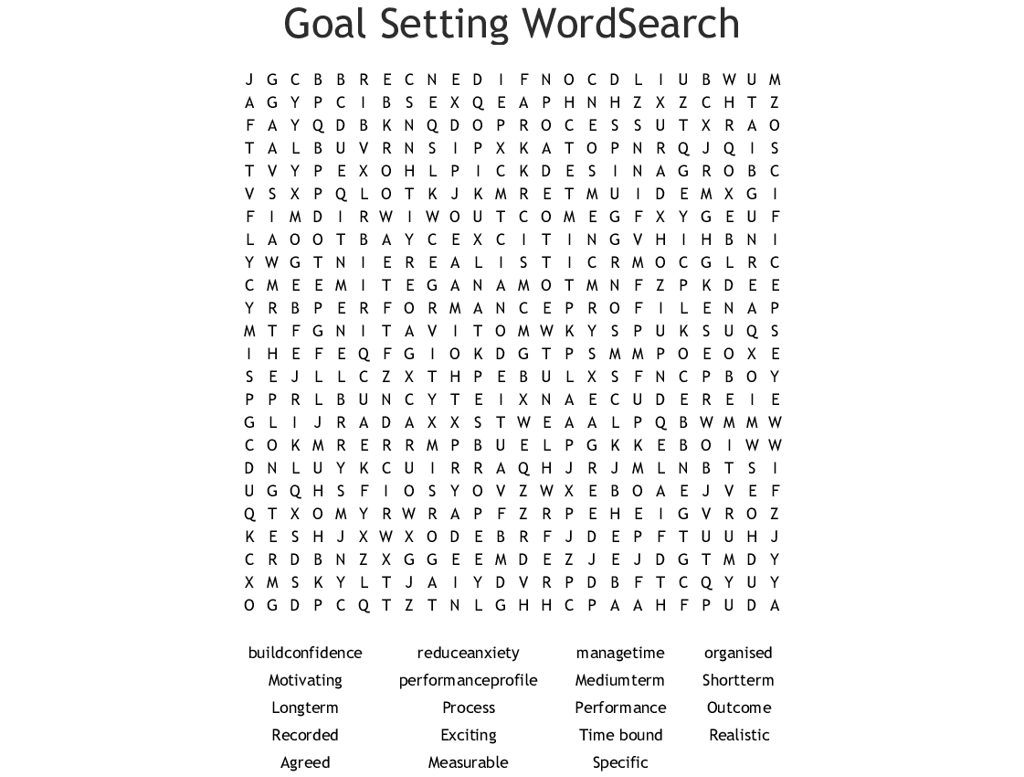 Smart Goals Word Search