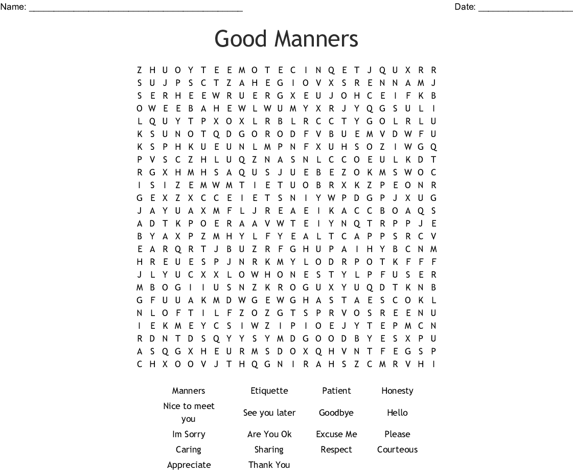 Manners Word Search