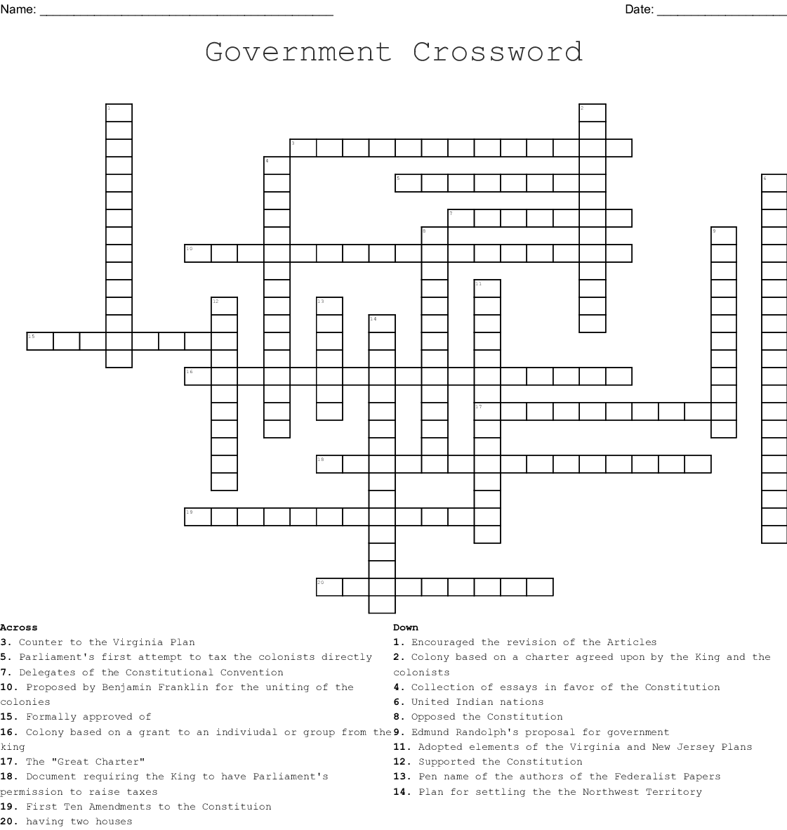 Origins Of American Government Crossword