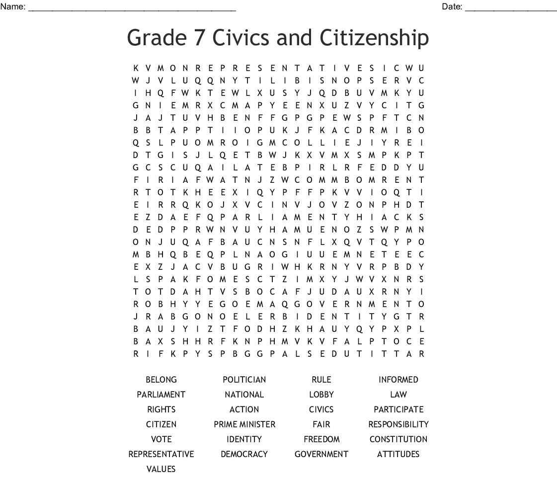 Grade 7 Civics And Citizenship Word Search