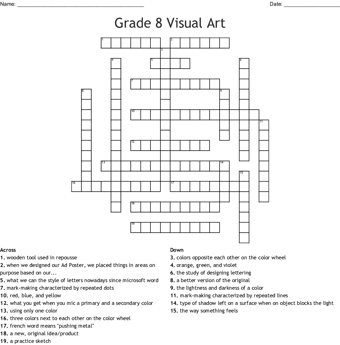 Color Theory Principles Amp Elements Of Art Crossword