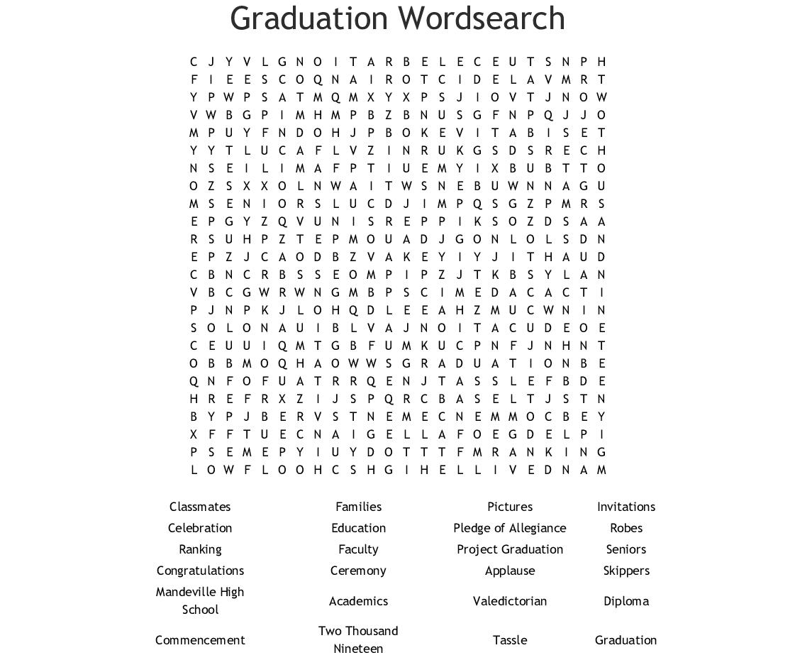 Graduation Word Search