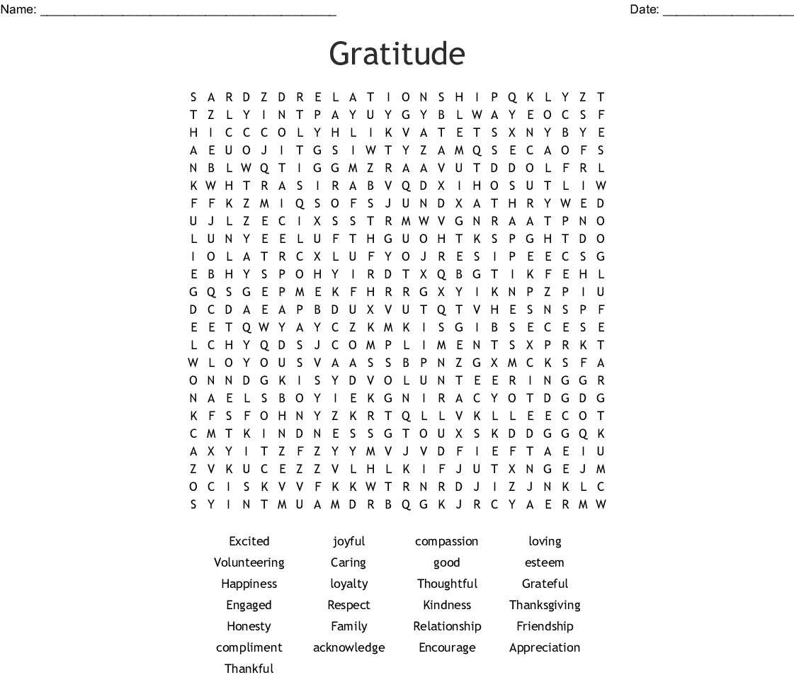 Gratitude Word Search