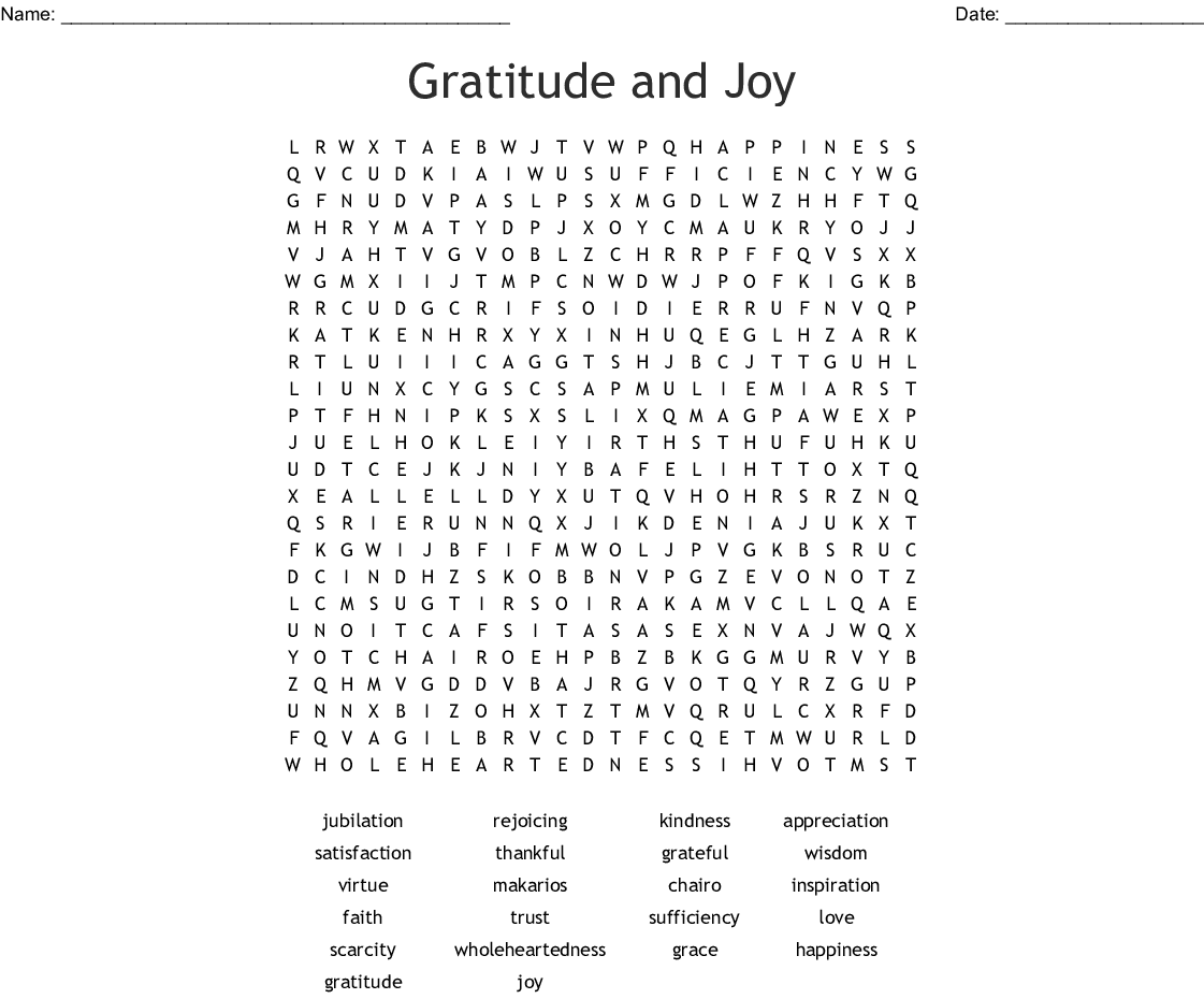 Appreciation Recognition Word Search