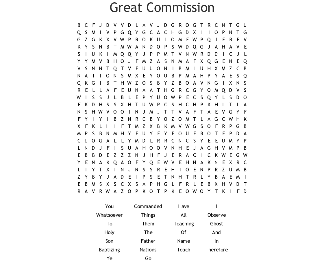 Great Commission Word Search