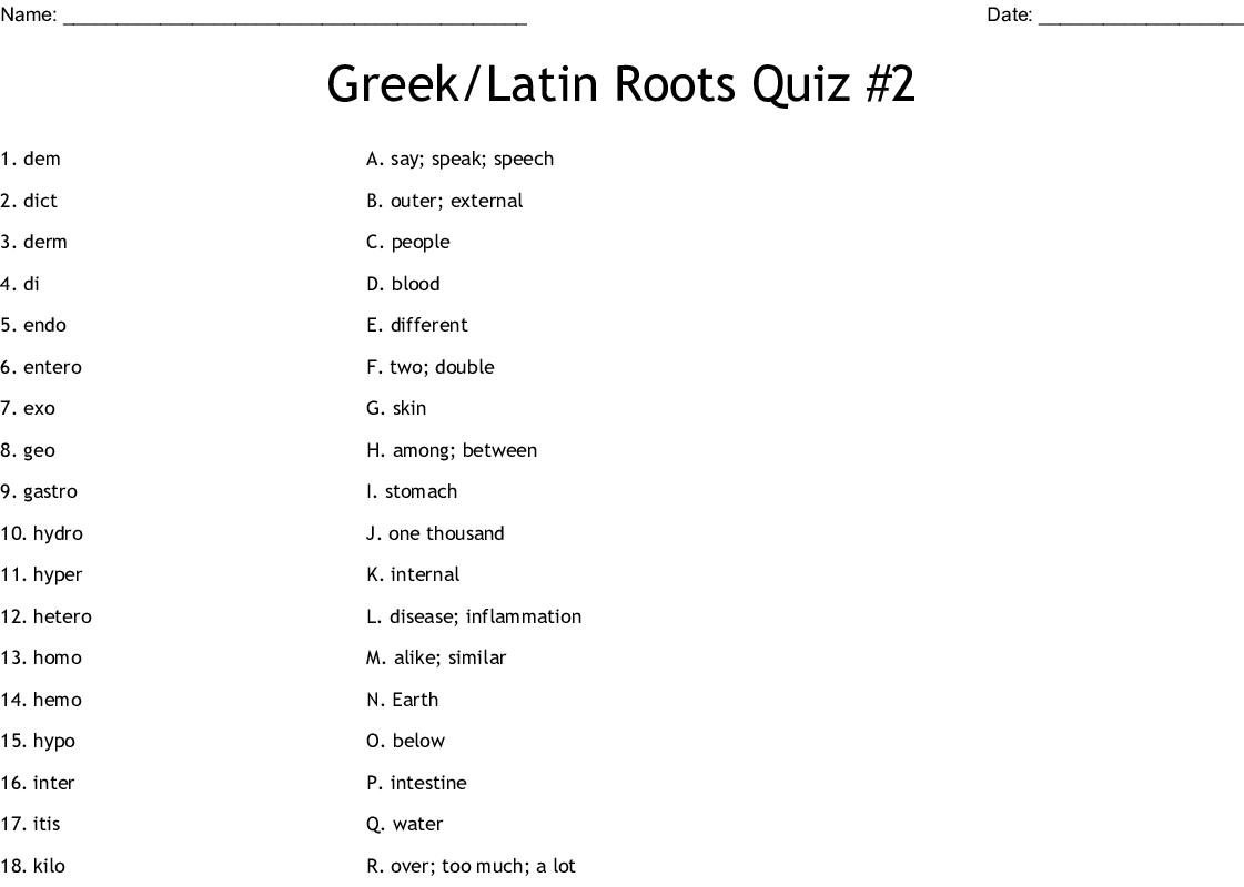 Greek Latin Roots Quiz 2 Worksheet