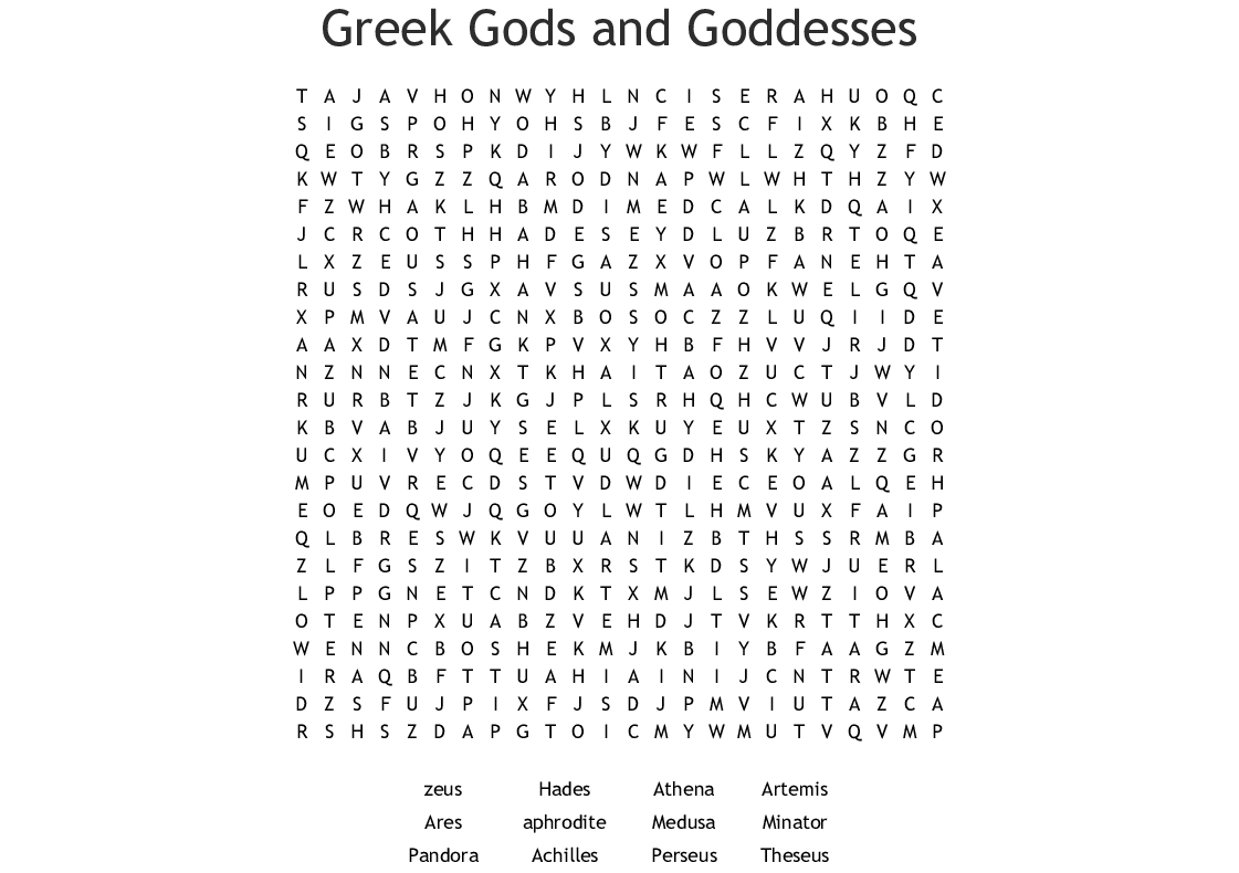 Greek Mythology Puzzles
