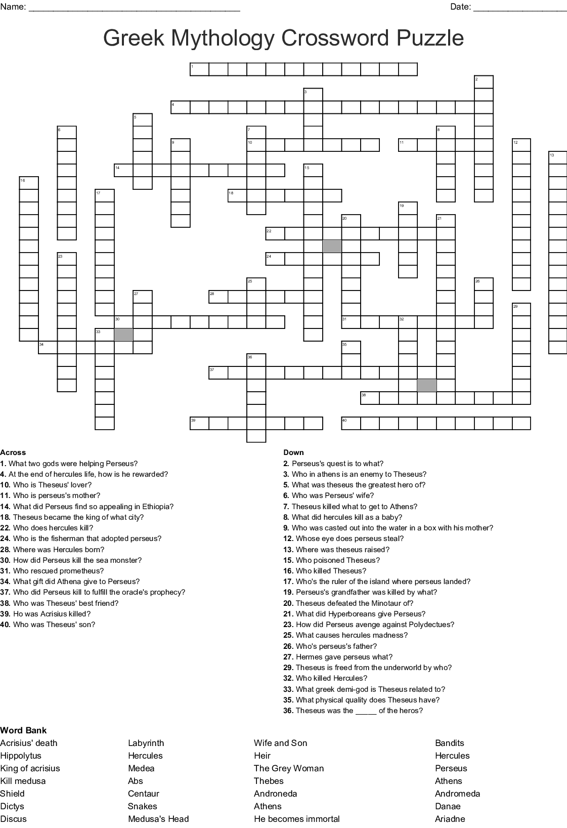 Atalanta Crossword