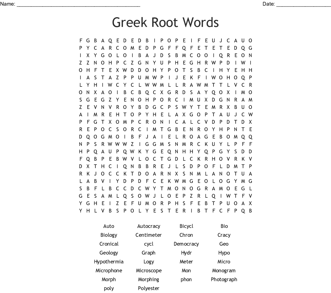 Greek And Latin Root Words Word Search