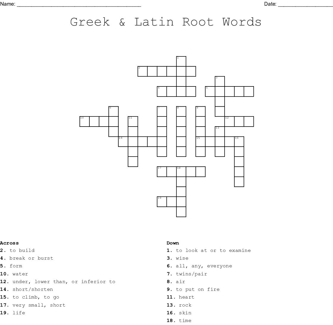 Greek Amp Latin Root Words Crossword
