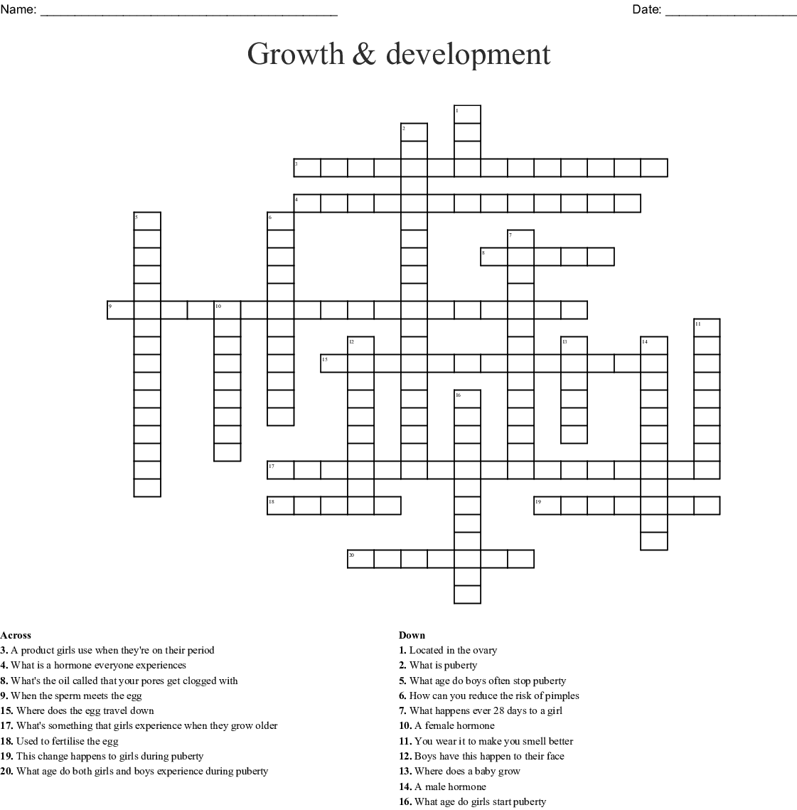 Puberty Crossword