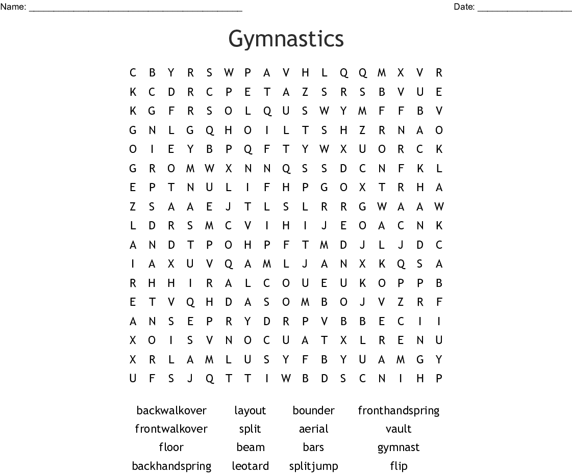 Gymnastics Word Search
