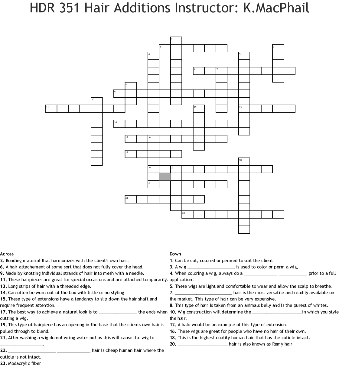 Milady Chapter 17 Crossword