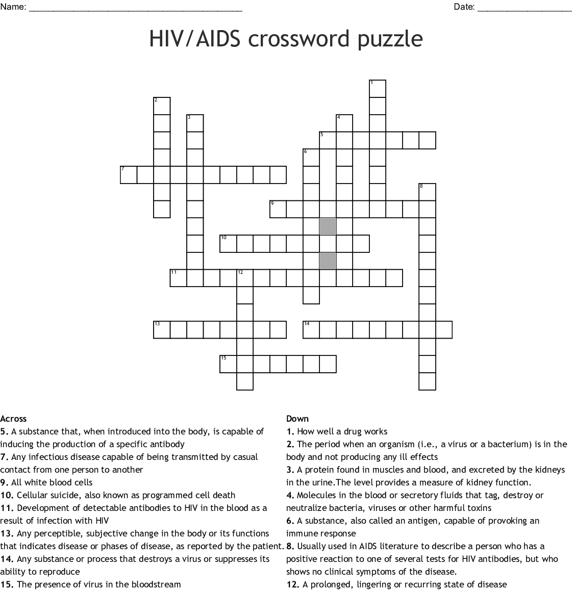Infectious Diseases Crosswords Word Searches Bingo Cards