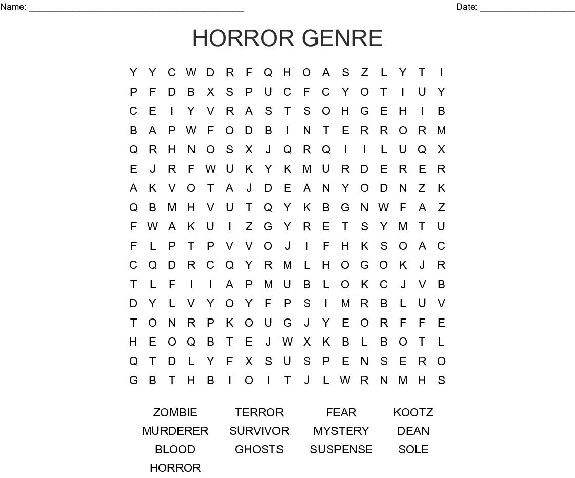 Horror Genre Word Search