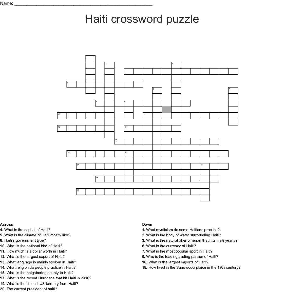 The Haitian Revolution Crossword