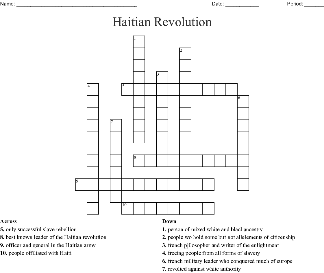 The Haitian Revolution Crossword