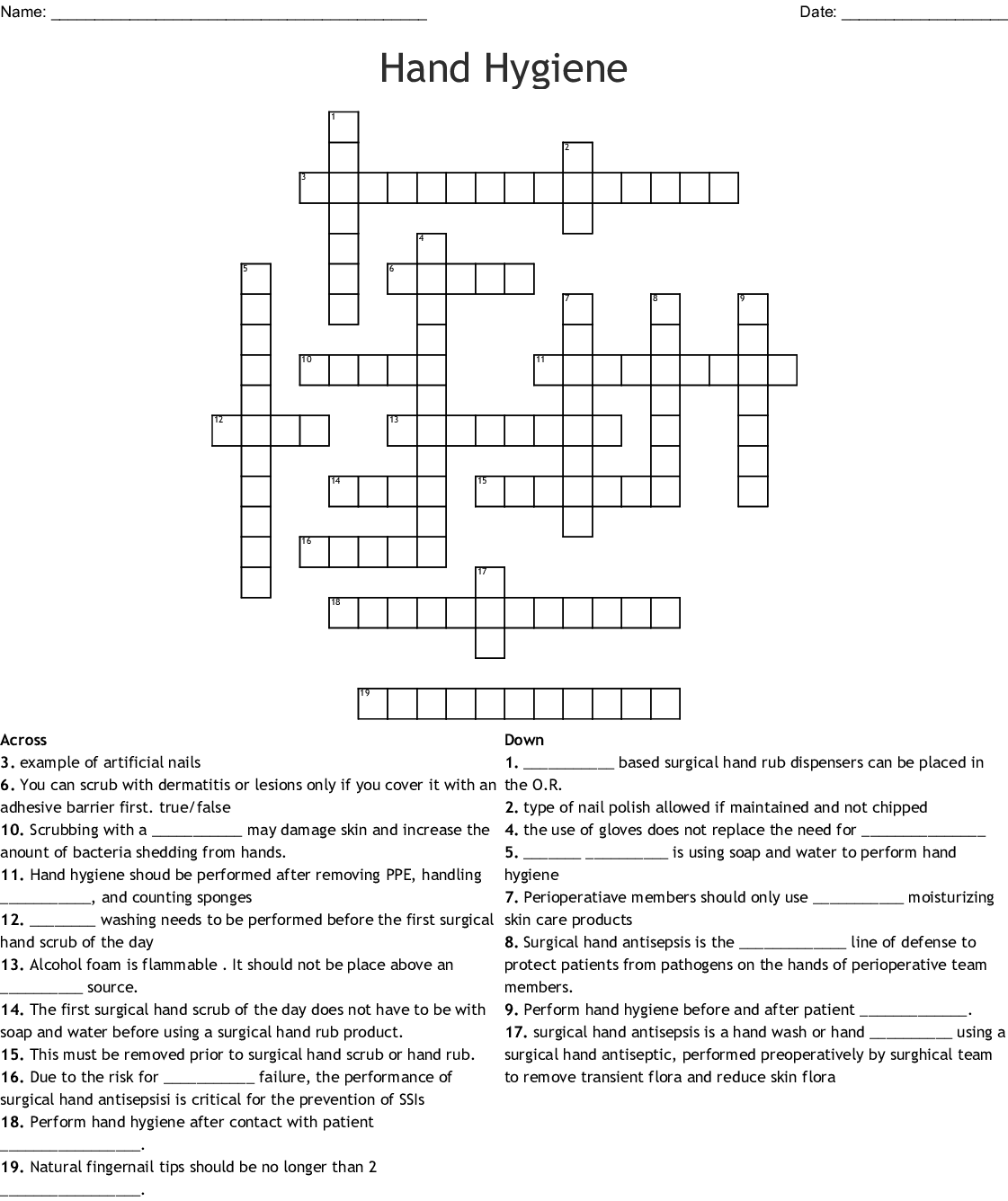 Hand Hygiene Crossword