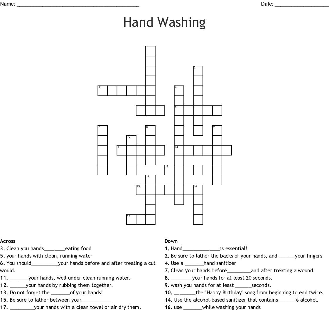 Hand Hygiene Crossword Puzzle