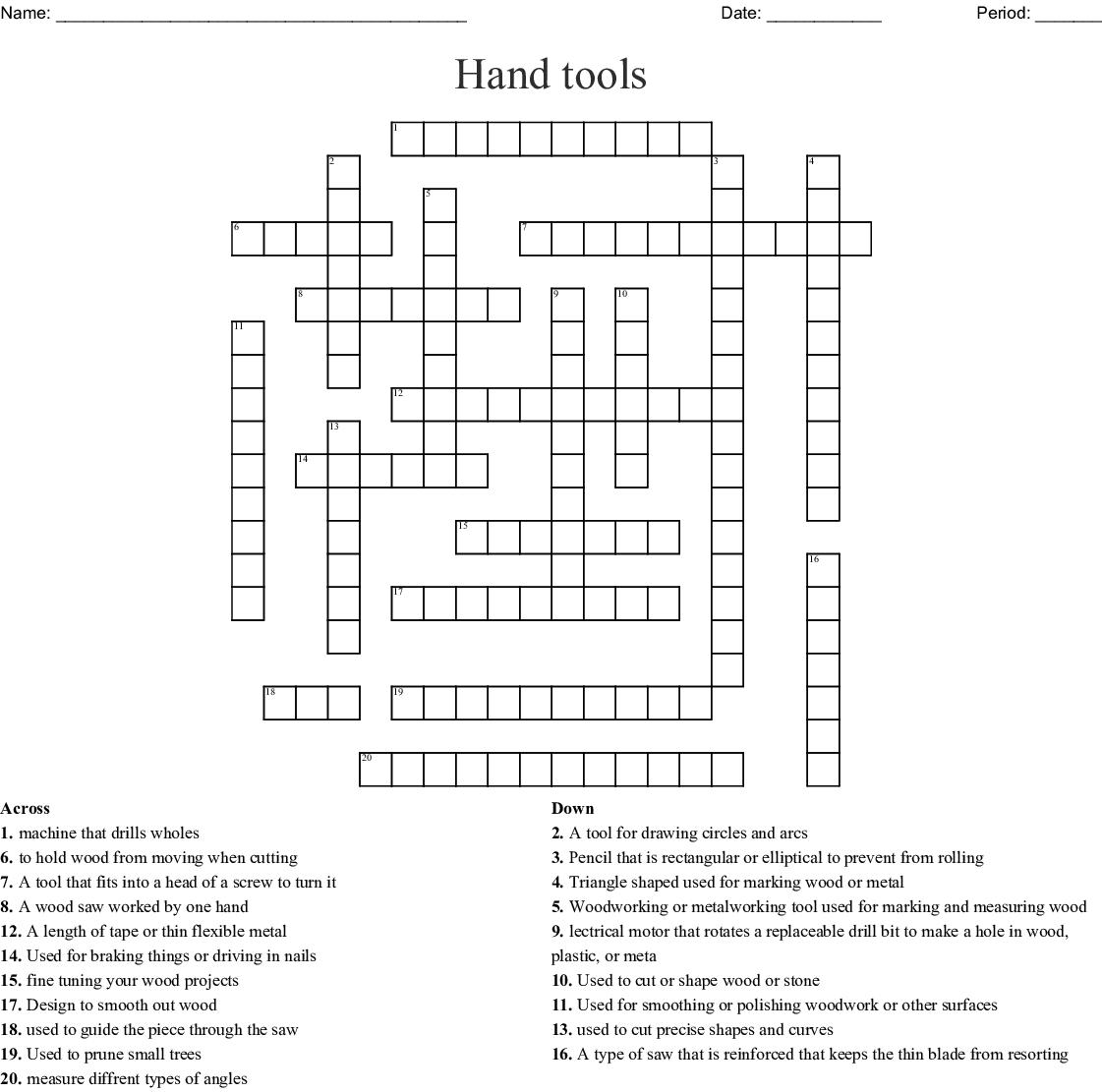 Hand Tools Crossword