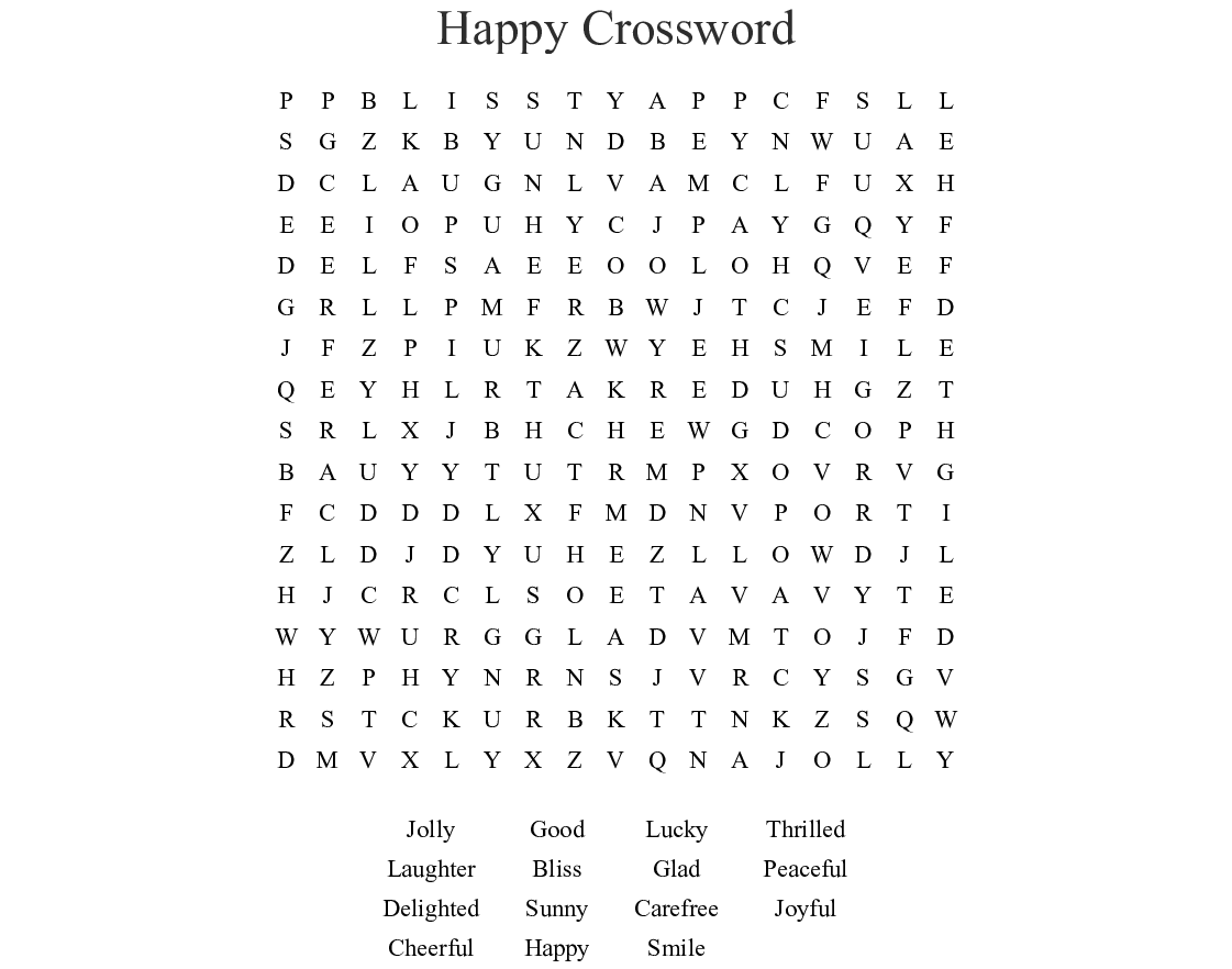 Happy Thoughts Word Search