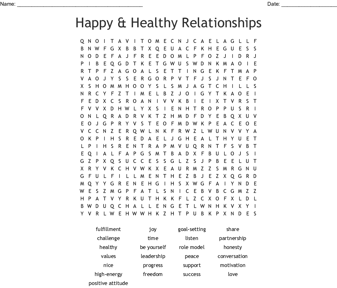 Happy Amp Healthy Relationships Word Search