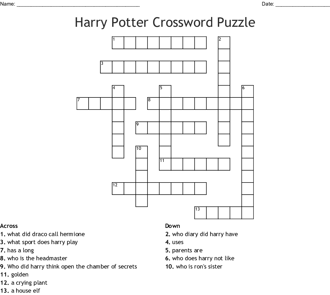 Top Harry Potter Crossword Printable