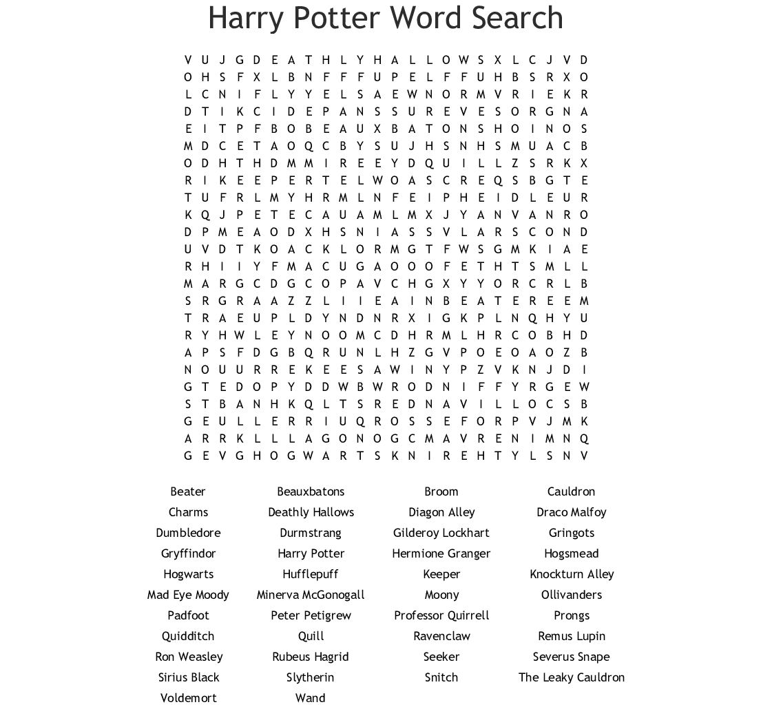 Hard Harry Potter Word Search Printable