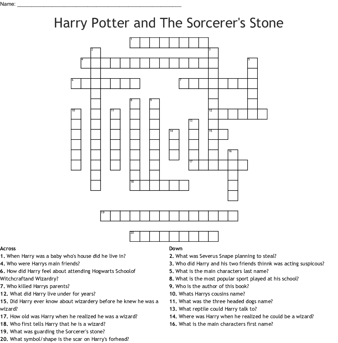Harry Potter And The Sorcerer S Stone Word Search