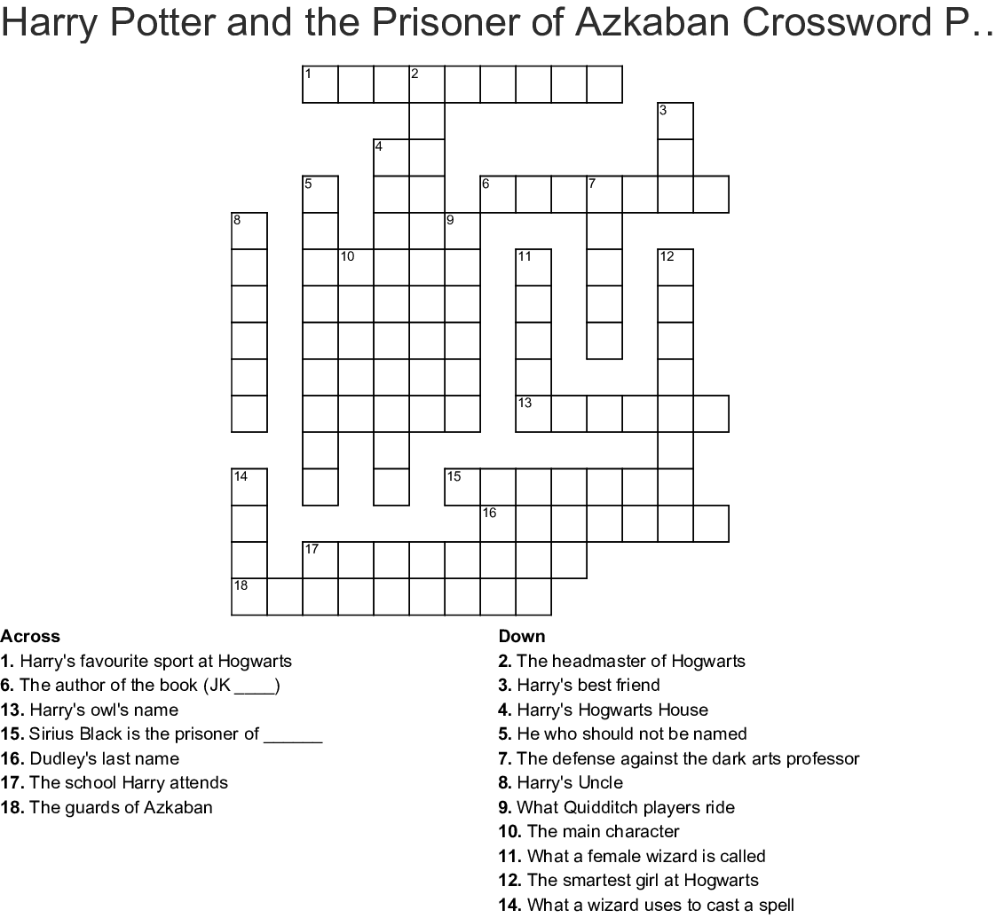 Harry Potter Crossword Printable That Are Slobbery