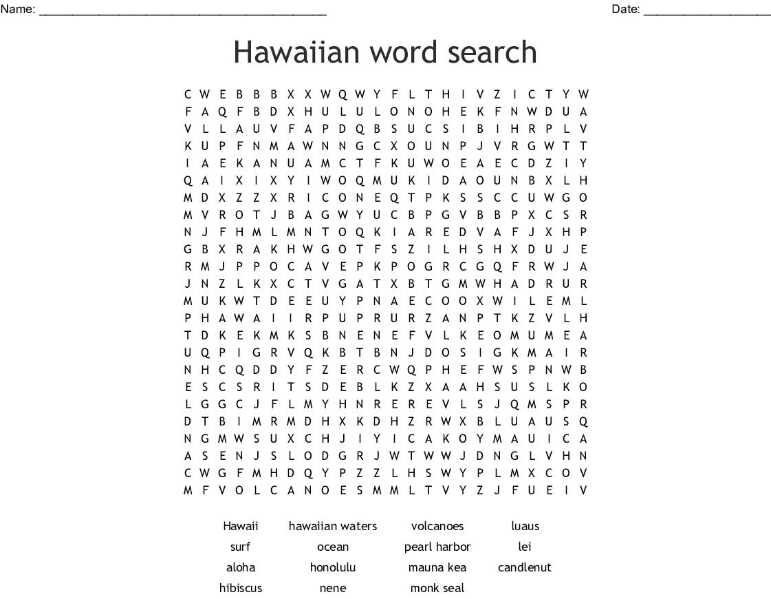 High Tide In Hawaii Word Search
