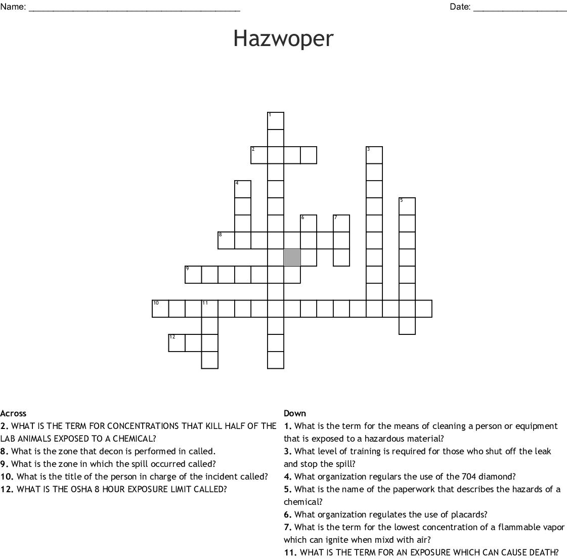 Hazwoper Crossword