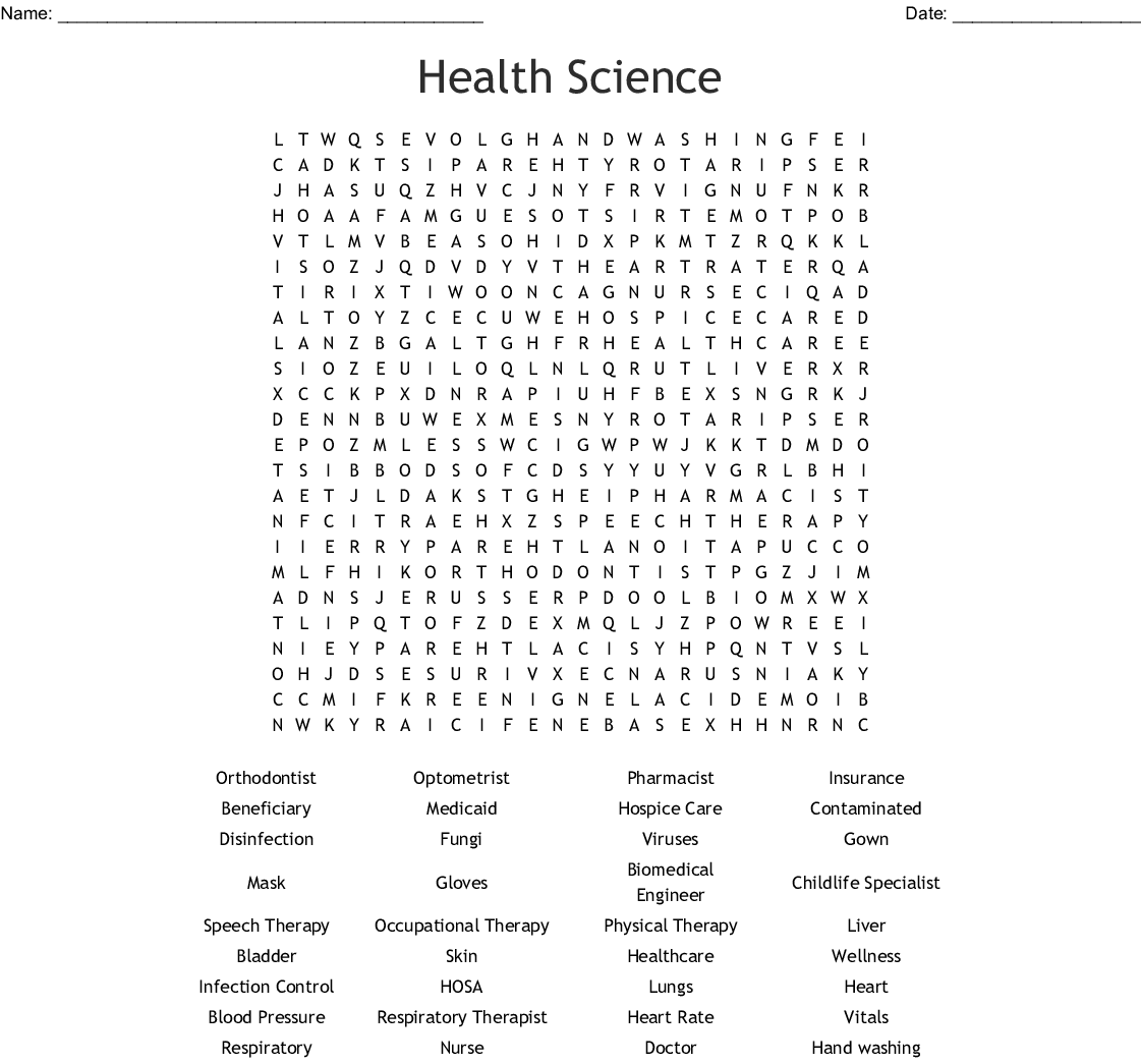 Health Science Word Search
