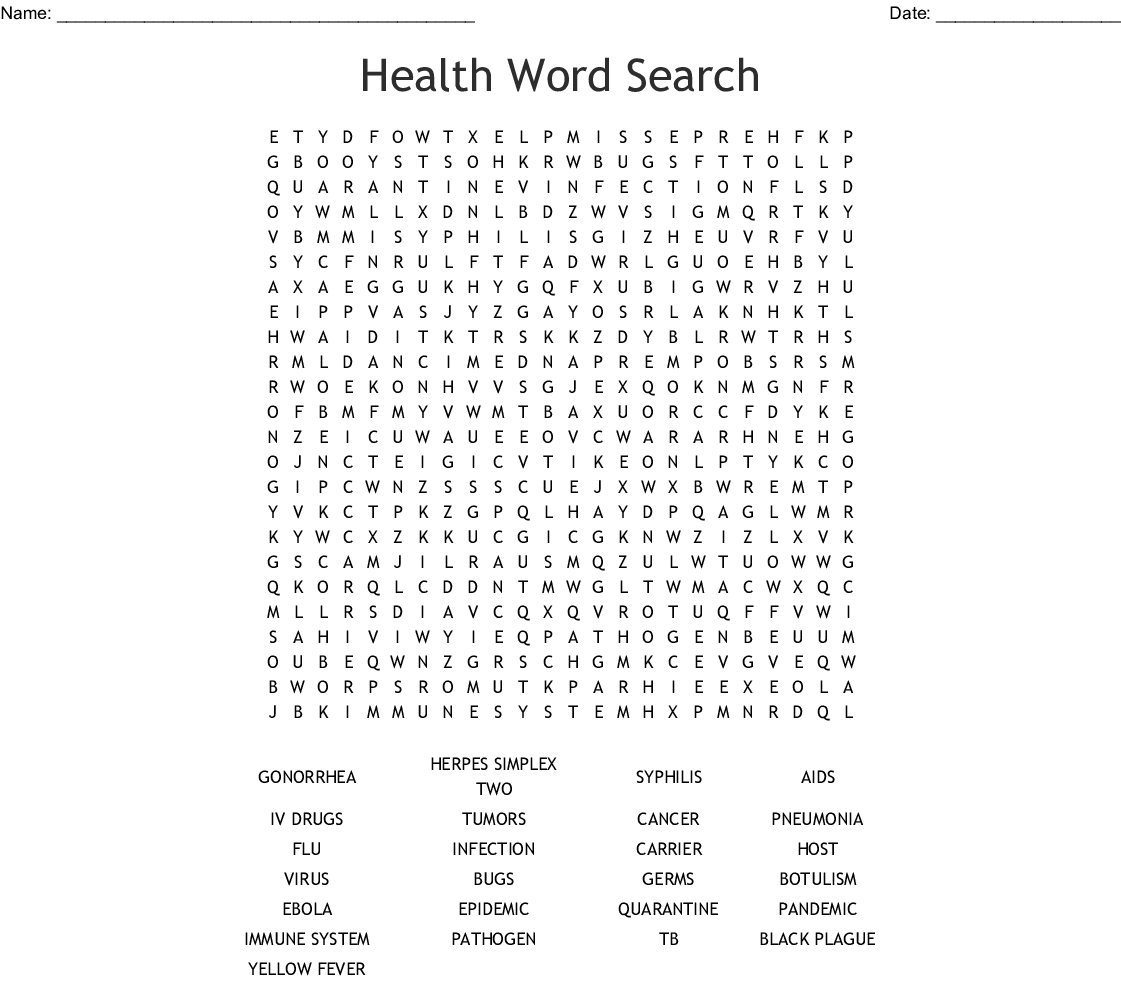 Immune System Word Search