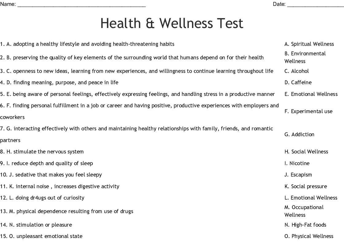 Health Amp Well Being Word Search