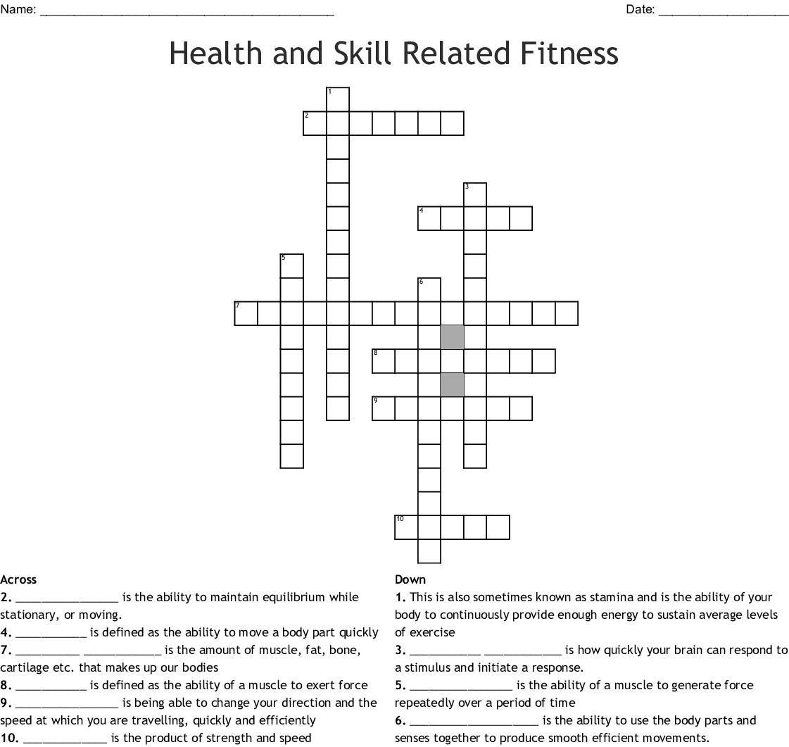Health And Skill Related Fitness Crossword