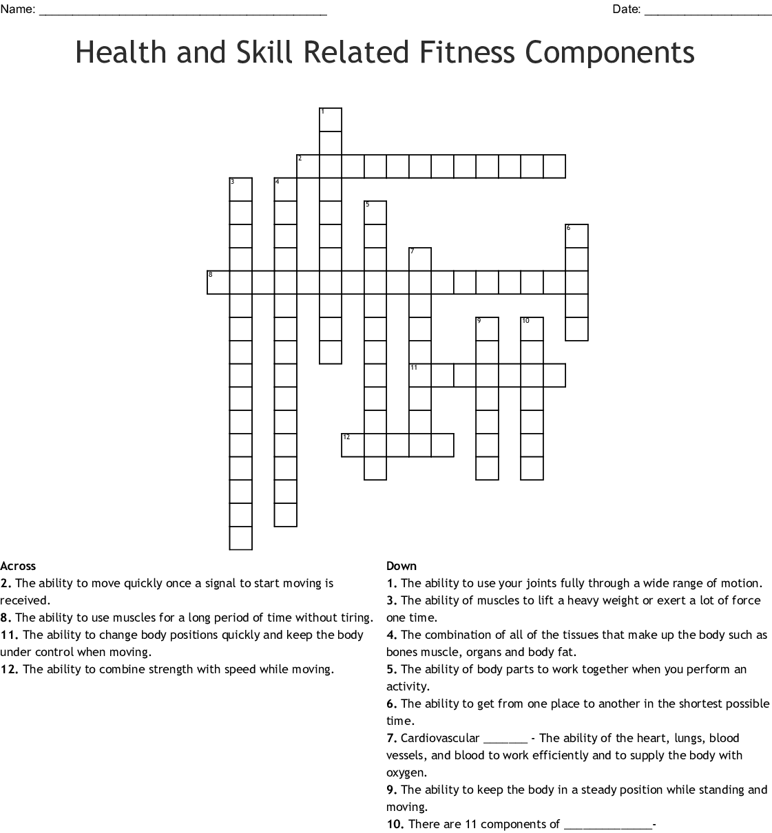 A Skill Related Physical Fitness Component Is Quizlet