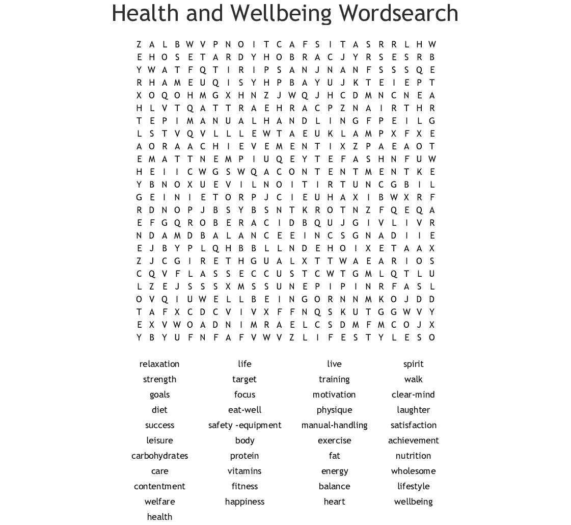 Healthy Living Word Search