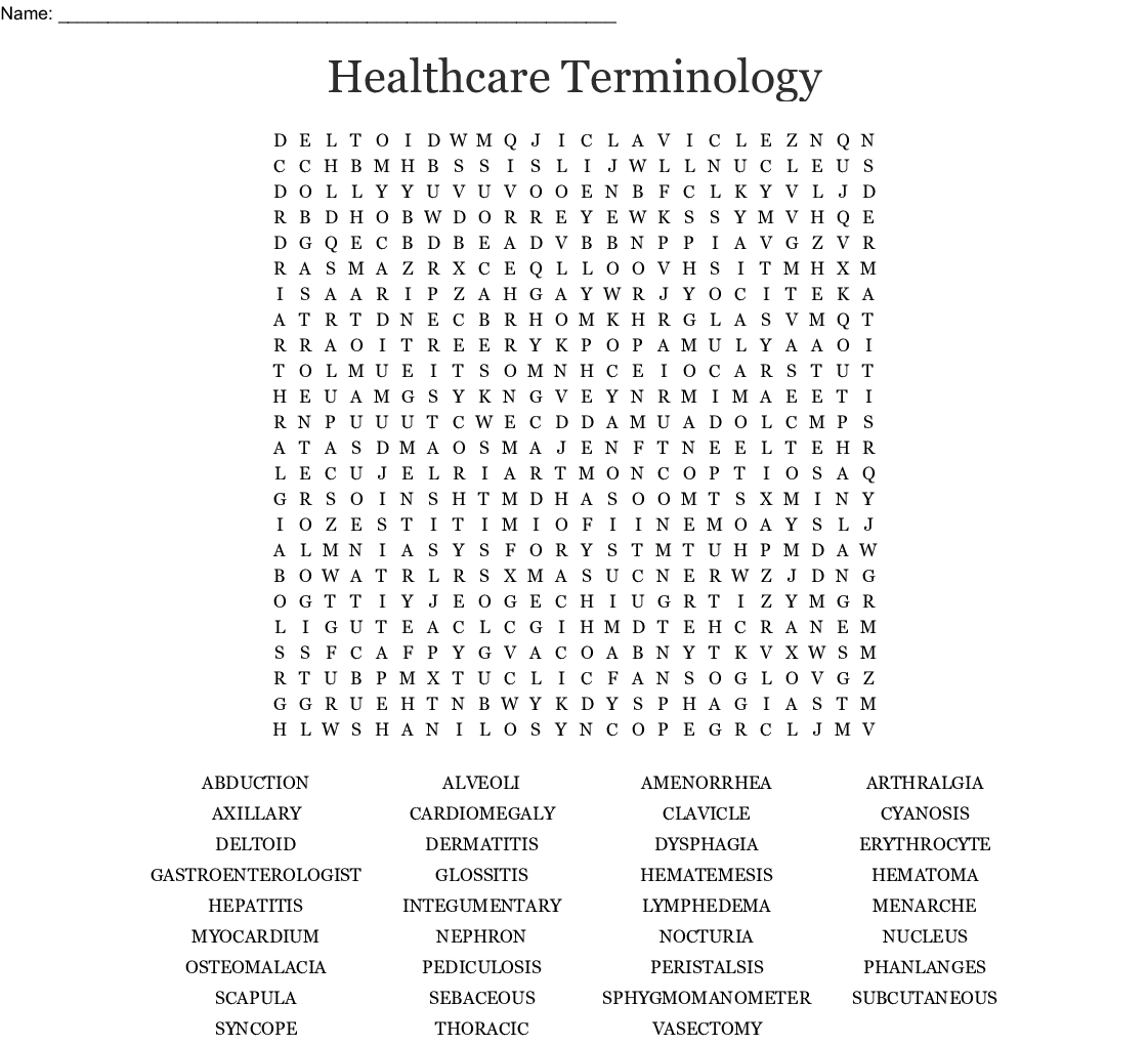 Chapter 1 12 Medical Terminology Word Search