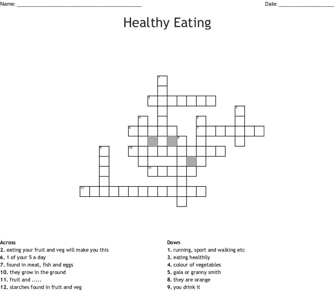 Healthy Eating Crossword