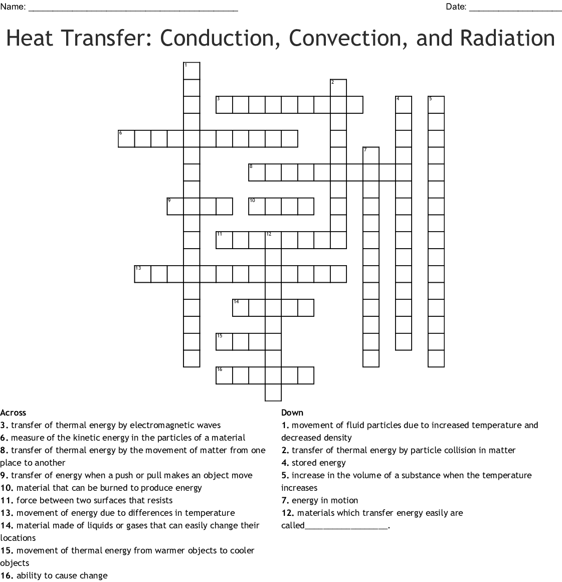 Heat Transfer Conduction Convection And Radiation Crossword