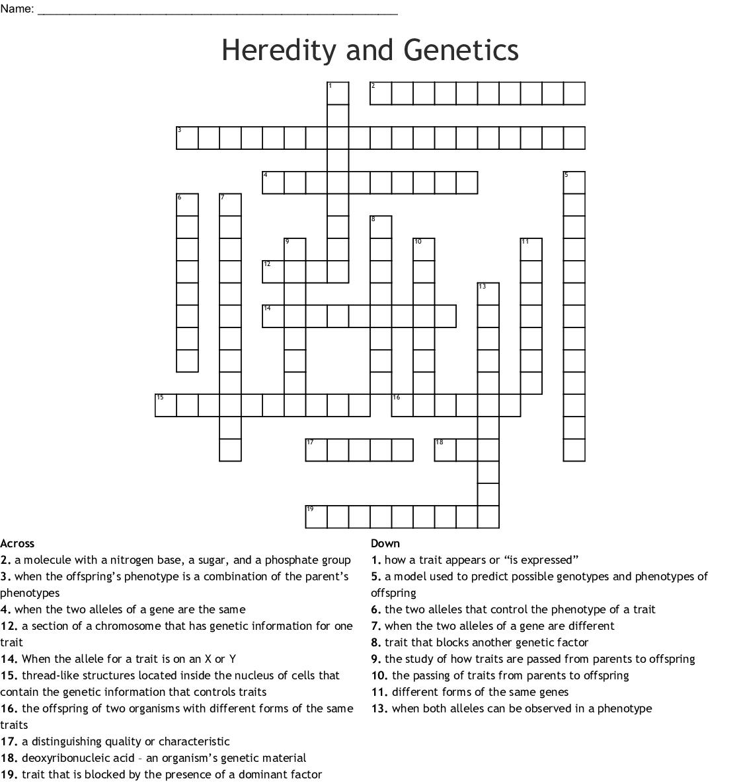 Genetics Crossword