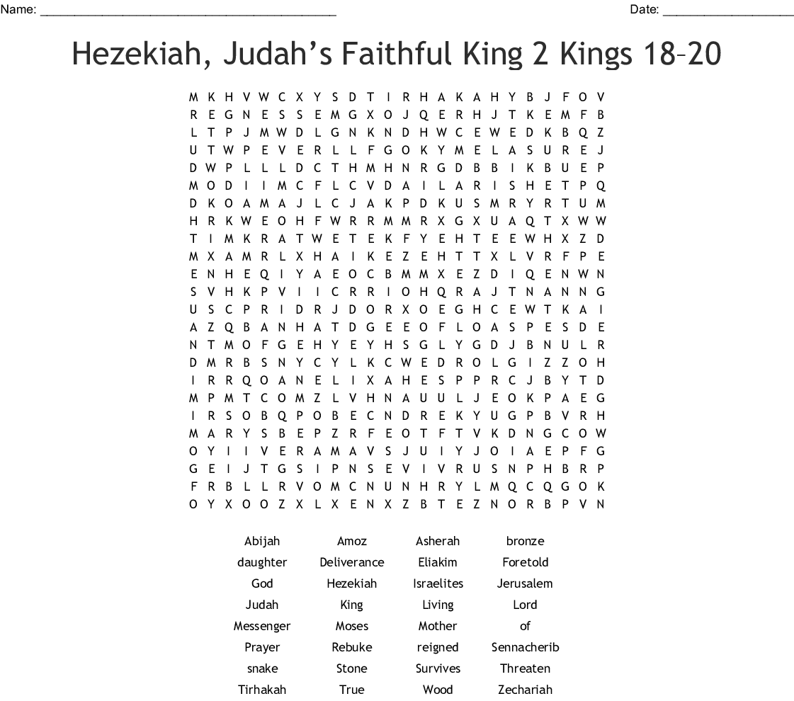 Hezekiah Trusts The Lord Crossword