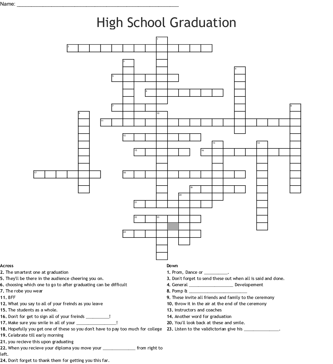 High School Graduation Crossword